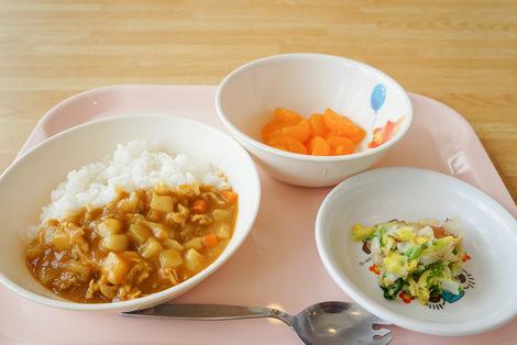 カレーライス/白菜の鰹節和え/小魚